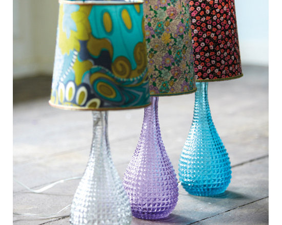 Dimpled Glass Lamp Bases With Ditsy Lamp Shades -