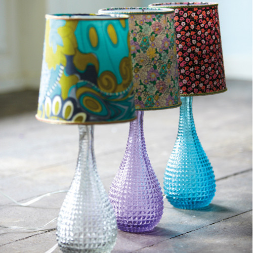 Dimpled Glass Lamp Bases With Ditsy Lamp Shades eclectic-table-lamps