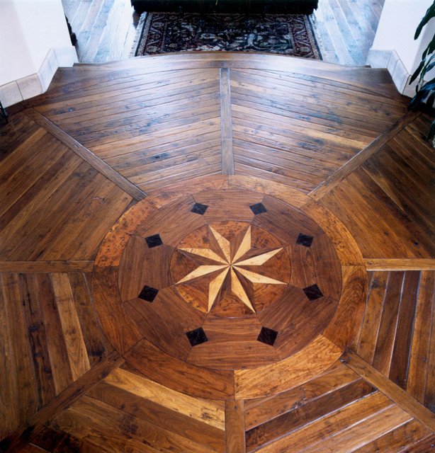 Hand Scraped French Country Cherry with Inlay in foyer mediterranean-hardwood-flooring
