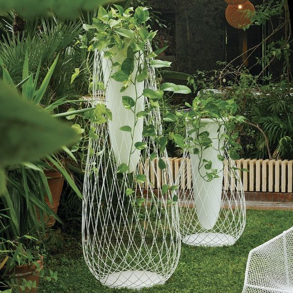 Metal Mesh and Glass Outdoor Vase  outdoor planters