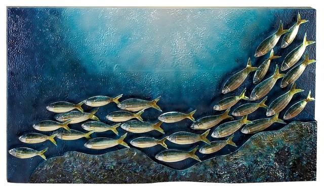 Underwater scene metal wall art piece blue silver green for School of fish metal wall art