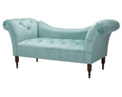 Button-tufted Velvet Chaise Settee, Caribbean traditional-love-seats