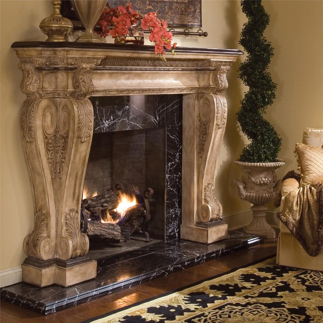 Ambella Home Fireplace Black Stone Traditional Fireplace Mantels By Euroluxhome
