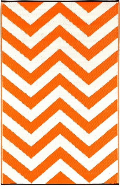 Indoor/Outdoor Laguna Rug, Orange Peel & White, 5x8 contemporary-outdoor-rugs