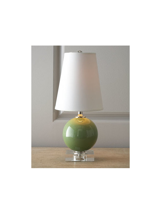 "Horchow - Two Mini Sphere Lamps - Chic emanates from these sphere lamps that add illumination and modern appeal any room. Made of porcelain with acrylic foot. Select color when ordering. Metal finial. Paper shade. Uses one 60-watt bulb. Set of two; each, 4.5""Dia. x 16""T. Impor..."