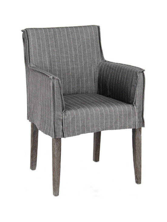 """Zentique - Zentique Domain Dark Gray Arm Chair - The Zentique Domain armchair recreates classic style with contemporary elements. A boxy, natural oak silhouette meets a gray striped linen slipcover for compelling interior seating. 23""""W x 24""""D x 34""""H; Dark gray linen"""