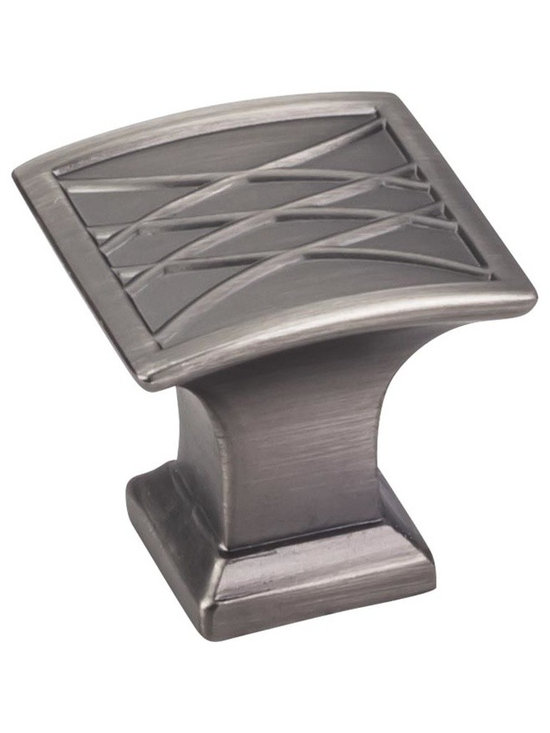 Jeffrey Alexander 535BNBDL Cabinet Knob - Aberdeen Series - Brushed Pewter Finis - This brushed pewter finish square cabinet knob with crossed line design is a part of the Aberdeen Series from Jeffrey Alexander. A perfect blend of craftmanship in traditional and contemporary design to complement any decor.