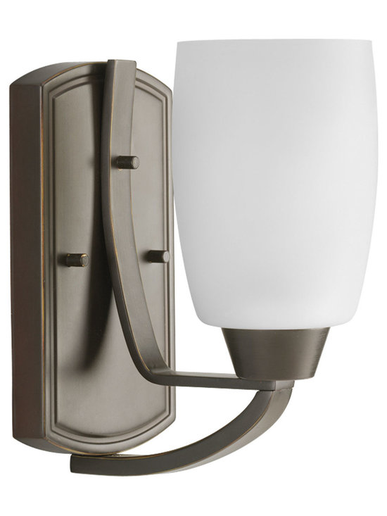 Progress Lighting Wisten One-Light Wall Bracket - One-light bracket with etched glass in Antique Bronze finish from our Wisten collection.