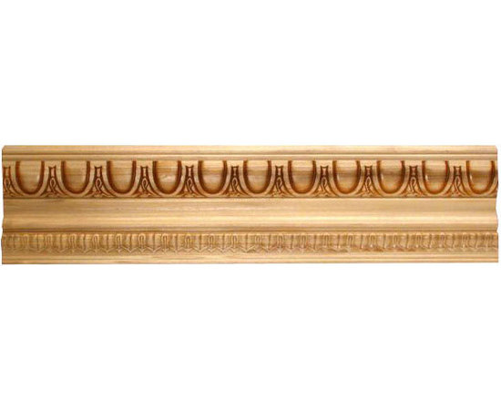 "Inviting Home - Wareham crown molding - embossed wood crown molding 3-3/4""H x 2-1/2""P x 4-1/2""F x 8'00""L sold in 8 foot length 3 piece minimum order required Outstanding quality embossed crown molding profile milled from high grade kiln dried solid poplar hardwood. Decorative ornamental design crafted embossed under intense heat and pressure. Wood molding is sold unfinished and can be easily stained painted or glazed. The installation of the wood molding should be treated the same manner as you would treat any wood molding: all molding should be kept in a clean and dry environment away from excessive moisture. Acclimate wooden moldings for 5-7 days. When installing wood moldings it is recommended to nail molding securely to studs and glue all mitered corners for maximum support."