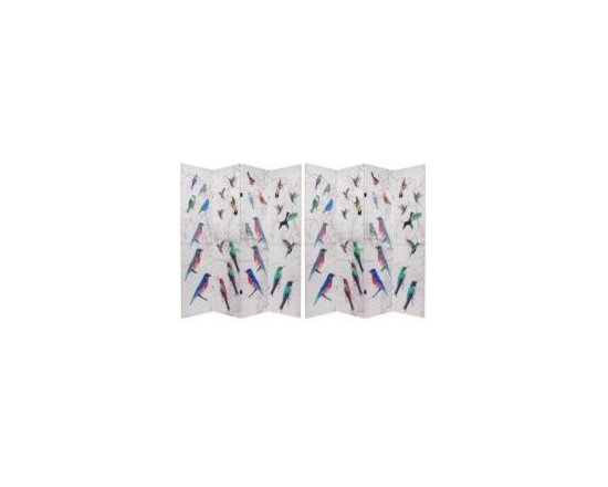 Functional Art/Photography Printed on a 6ft Folding Screen - 4 panel art print folding screen of colorful birds on a 6ft folding screen