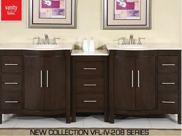 Model Transitional 48 Inch Gray Bathroom Vanity With White Marble Carrera