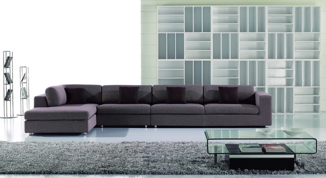 Gary Soft Fabric Sectional Sofa Couch Chaise Set Modern Living Room contemporary-sectional-sofas