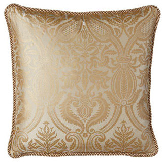 """Isabella Collection by Kathy Fielder Damask-Print Silk Pillow, 20""""Sq. traditional-decorative-pillows"""