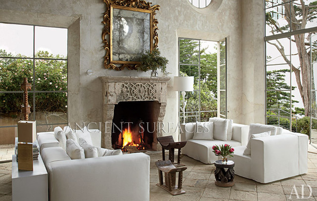 Architectural Digest front cover feature mediterranean-living-room