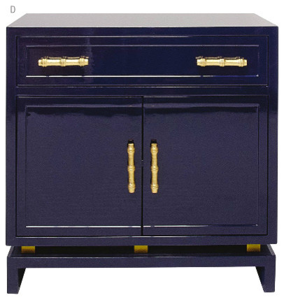 World Away Marcus Lacquer Cabinet Navy With Gold Handles asian-storage-cabinets