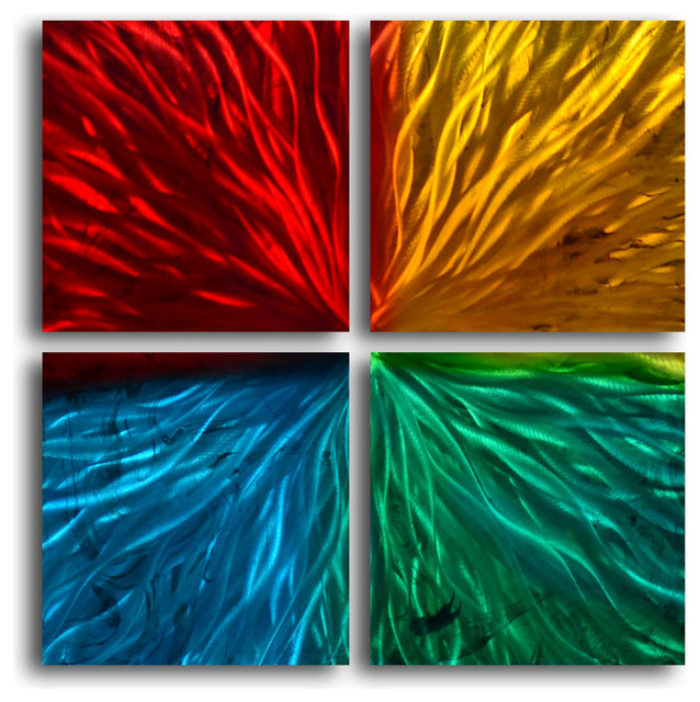 Metal Wall Art Decor Abstract Contemporary Modern - Four square colored ripples - Contemporary ...