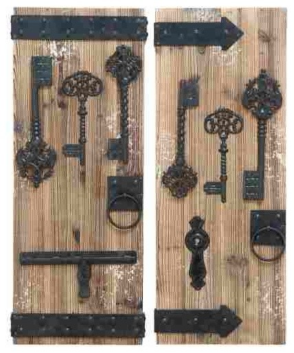 Vintage Lock And Key Wall Decor Set Of 2 Contemporary