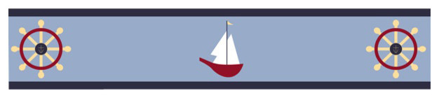 "Come Sail Away Wall Paper Border (15' x 6"") contemporary-wallpaper"