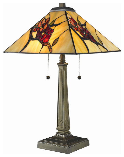 tiffany style floral mission table lamp contemporary table lamps. Black Bedroom Furniture Sets. Home Design Ideas