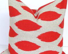 Red Pillow Cover, Ikat by Elemen O Pillows modern-pillows