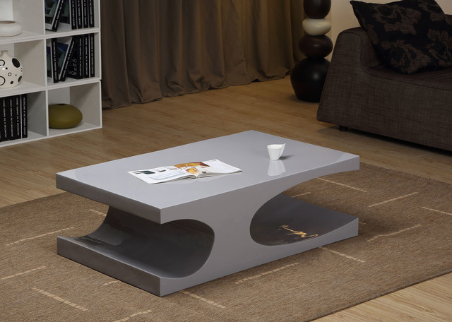 Modern Glossy Gray Coffee Table Naples Modern Coffee