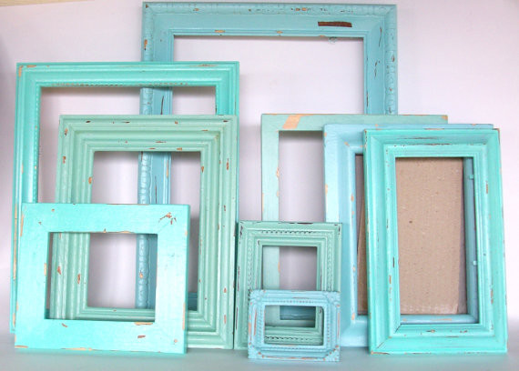 Beach-Themed Picture Frames, Robins Egg Blue, by Dirt Road Decor contemporary frames