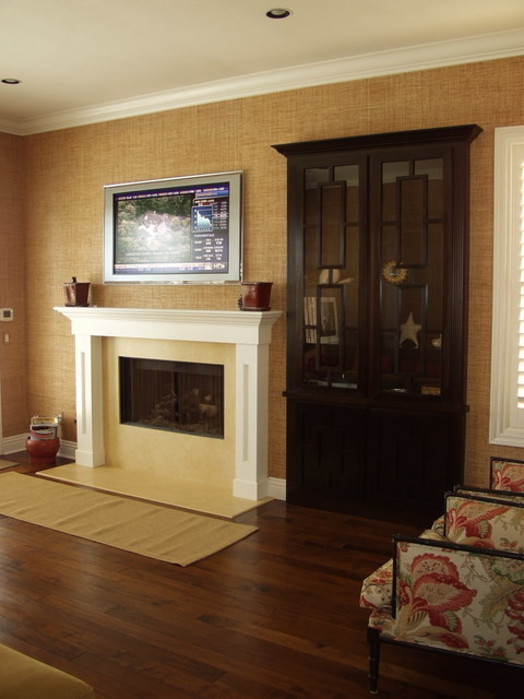 Built In Media Center And Fireplace Mantel Contemporary