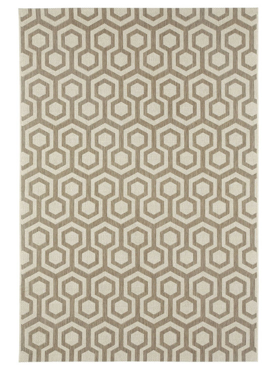 """Finesse Honeycomb rug in Barley - An esteemed """"Capel Anywhere"""" rug collection woven on precision machine looms in Europe. These versatile rugs can be used in high traffic areas indoors - like kitchens and sunrooms - or to dress up covered porches and decks outside."""