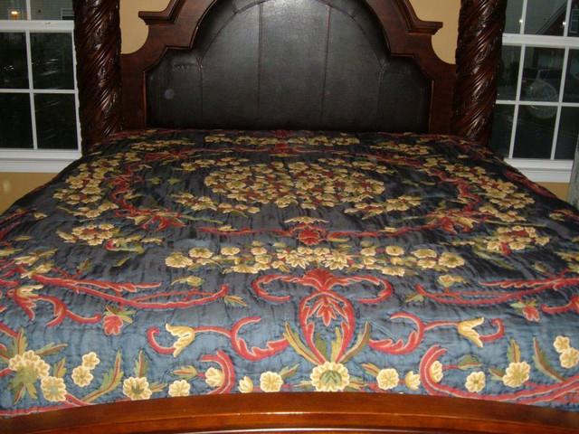Crewel Bedding Art Nouveau Navy Blue Silk Organza ,Queen traditional-duvet-covers-and-duvet-sets