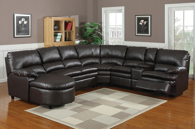 Ac Pacific Espresso Leather Reclining Sectional Sofa