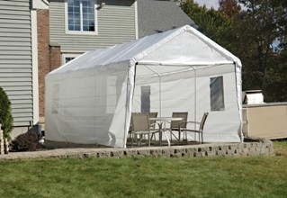 """Canopy Enclosure Kit with Windows, 10' x 20', White, Fits 1-3/8"""" Frame modern-outdoor-products"""