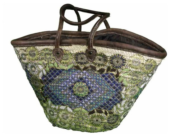 Moroccan Marrakech Tote - Handmade chic Moroccan basket crafted of gorgeous embroidery on top of woven strips of date palm leaves and trimmed in leather with leather handles. It is sturdy and firmly executed to last for long life.