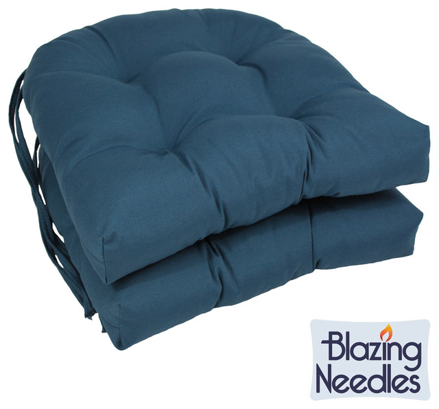 Blazing needles 16 inch u shaped tufted twill dining chair for U shaped dining room chair cushions