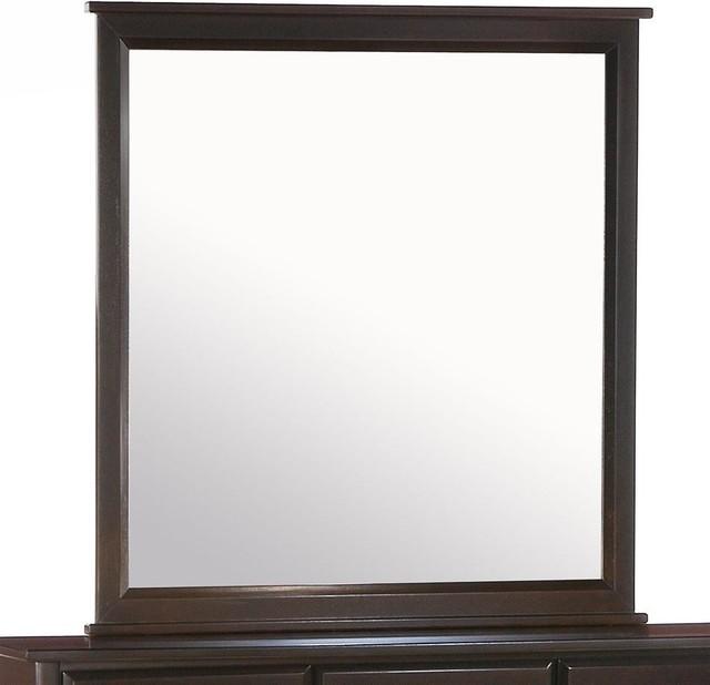 Squared trim mirror for dresser w dark finish