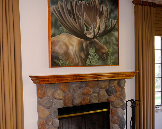 Woodside Moose Portrait - This was a commissioned painting to go over a stone fireplace with a wooden mantle. Although this is an original painting, I have also printed giclees of this image, which are more affordable .