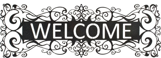 Filigree Welcome Metal Art Over Door Hanger in Sparkle Black rustic-artwork