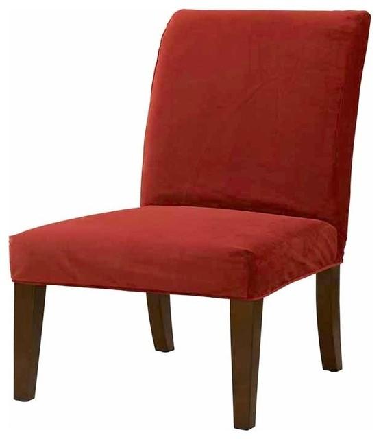Slip Over Slipcover For Dining Chair Poppy Red Velvet