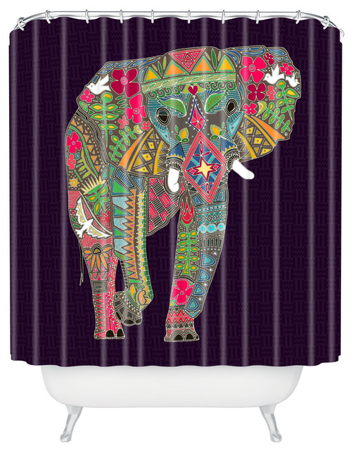 Sharon Turner Painted Elephant Shower Curtain eclectic-shower-curtains