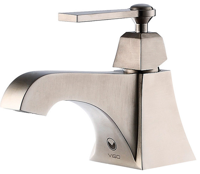 Vigo Plutus Brushed Nickel Finish Single Handle Bathroom Faucet contemporary-bathroom-faucets