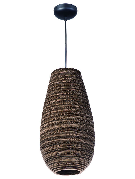 Maxim Lighting - Java 9103 Pendant - Java 9103 Pendant features the raw beauty of recycled and repurposed cardboard in alternating opaque and translucent layers in a Black finish.  One 60 watt 120 volt A19 type Medium base incandescent bulb is required, but not included. Comes with 10 feet of cord. UL listed. 9.75 inch width x 18.75 inch height x 138.75 inch maximum length.