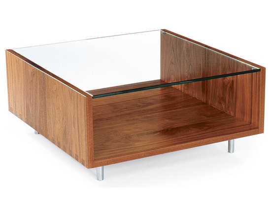 Rowlands Square Coffee Table - Minimalist yet multi-functional, this open-ended solid wood table with flush glass top does double duty as a coffee table and a display/storage case for magazines and objects.