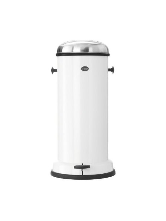 """Vipp - Vipp Trash Bin, Large - The Vipp story begins in 1939, when Holger Nielsen designed and manufactured a foot-pedal garbage bin for his wife's hair salon. Nielsen's keen sense of aesthetics and quality were quickly recognized and requests for these eminently useful Bins began pouring in. Today, the company is run by his daughter, but little else has changed. Vipp still manufactures its pedal bins in Denmark and the materials are the same: stainless steel and rubber. """"Good design never goes out of fashion,"""" said Nielsen and his Vipp Bins are no exception. Each hand-assembled bin consists of up to 42 components. One craftsperson can create six bins per hour – ensuring quality that lasts. A removable inner bin makes changing out the bags easy and a roll of biodegradable liners is included. Additional biodegradable bin liners are also available (one box includes 16 rolls of 50 bags, for a total of 800). In 2009, the original Vipp Trash Bin was acquired for the permanent collection at MoMA."""