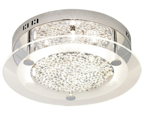 """Possini Euro Design - Possini Euro Crystal Disc 15 3/4"""" Wide Ceiling Light Fixture - This contemporary design draws on the beauty of clear crystal as it glitters behind clear glass. Chrome finish base reflects the light beautifully from six halogen fixtures. Comes with """"floating"""" crystal jewels to arrange as you like. This flushmount ceiling light look has a sleek enticing quality. From the Possini Euro Design Lighting Collection. Loose clear crystal accents. Clear glass disk. Brushed steel finish. Includes six 20 watt G4 halogen bulbs. 15 3/4"""" wide. 4 1/4"""" high.  Loose clear crystal accents.   Clear glass disk.   Chrome finish.   Includes six 20 watt G4 halogen bulbs.   Takes a low voltage dimmer.  15 3/4"""" wide.   4 1/4"""" high."""