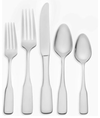 Oneida benson 45 piece stainless steel flatware set contemporary flatware and silverware - Contemporary stainless flatware ...