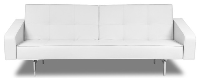 Agoston White Faux Leather Sleeper Couch modern-futons