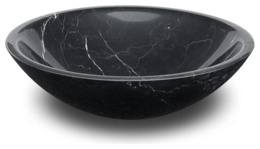 ROUND STONE VESSEL SINK BOWL NERO MARQUINA MARBLE - Bathroom Sinks ...