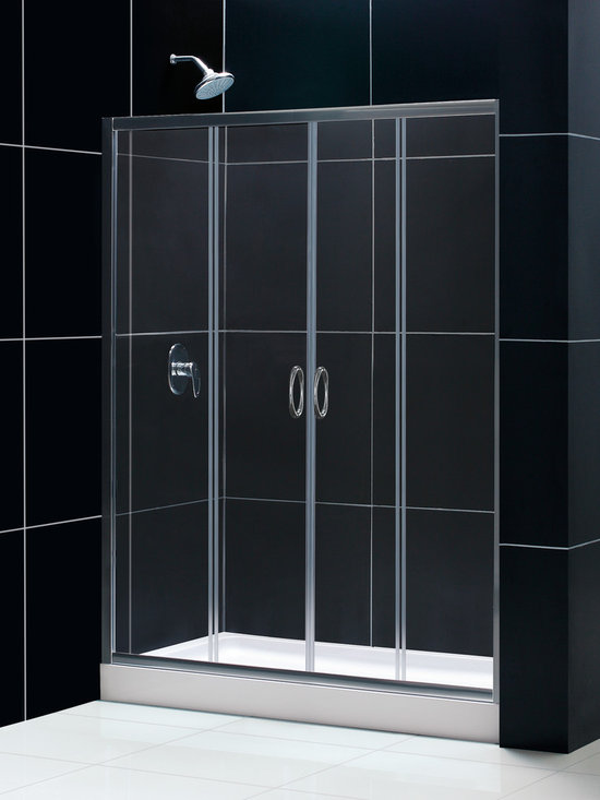 "Dreamline - Visions Frameless Sliding Shower Door, 32""x60"" Shower Base & Shower Backwall Kit - This smart kit from DreamLine offers the perfect solution for a bathroom remodel or tub-to-shower conversion project with a VISIONS sliding shower door, universal shower backwall panels and a coordinating SlimLine shower base. The VISIONS shower door has two stationary glass panels and two sliding glass panels that open to create an ample center point of entry. The SlimLine shower base incorporates a low profile design for a sleek modern look, while the shower backwall panels have a tile pattern. Envision your shower space fresh and new with this complete shower kit from DreamLine."