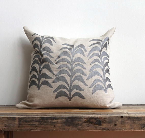 Modern Botanical Pillow : Botanical Metallic Silver & Natural Hemp Pillow Cover by Melongings - Contemporary - Decorative ...