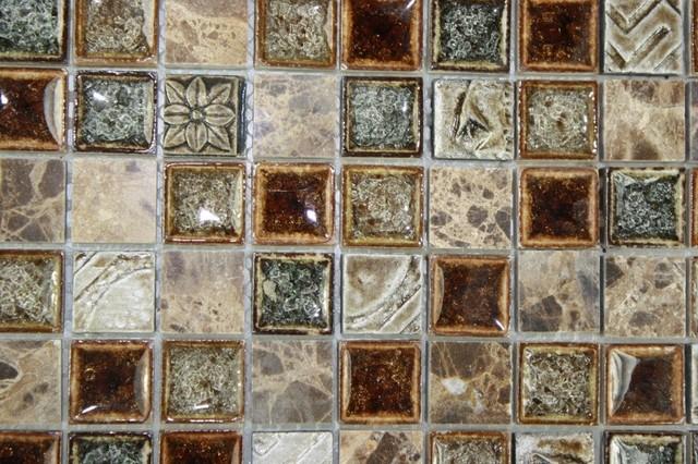 Roman Collection Burnt Russet Glass Tile contemporary-tile