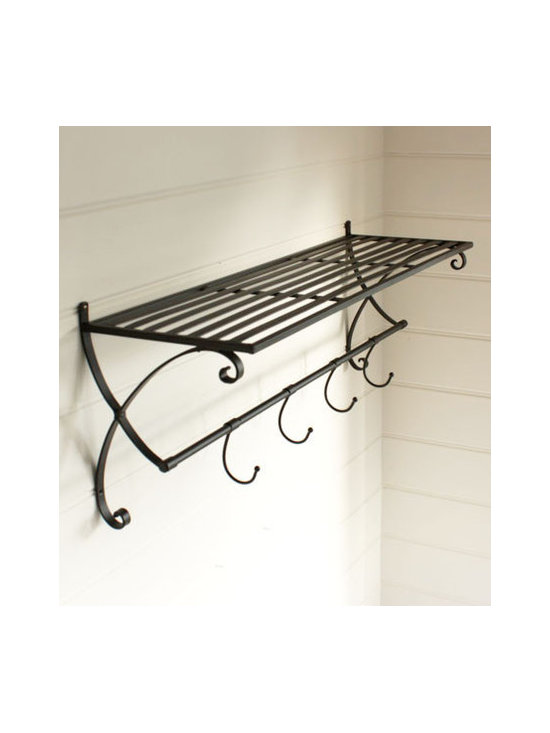 Metal Shelf With Hooks -
